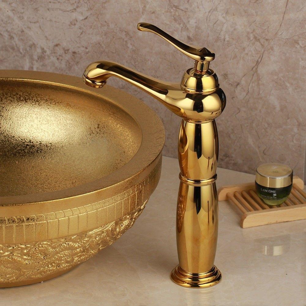 Gouden aardewerk waskom waskom met kraan for Waskom kraan hoog