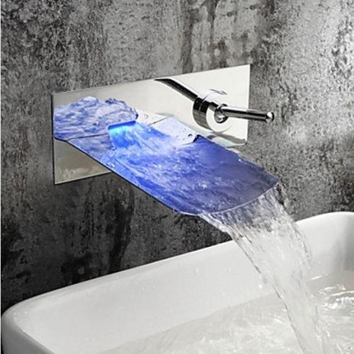 Stoere inbouw badkraan met glazen mond en Led verlichting - Inbouw ...